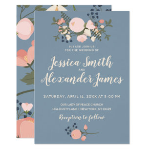 blush and blue wedding invitations zazzle co uk