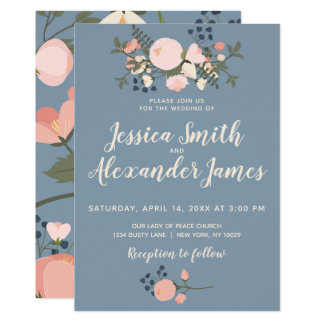 Dusty Blue Floral Wedding Invitation Blush Pink