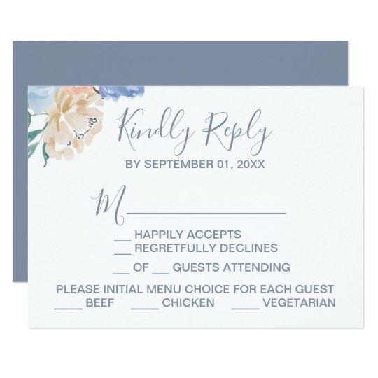 Dusty Blue Florals Menu Choice RSVP Card