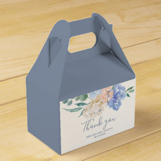 Dusty Blue Florals Thank You Favour Box