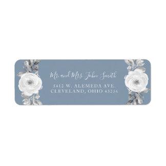 Dusty Blue Gray Floral Diamond Wedding Labels