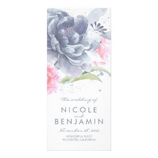 Dusty Blue Pink Floral Watercolor Wedding Programs Rack Card