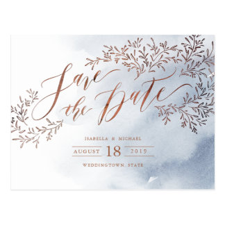 Dusty blue rustic floral calligraphy save the date postcard