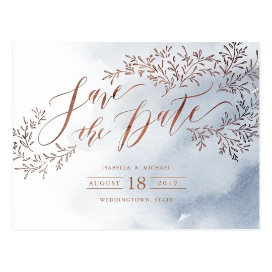 Dusty blue rustic floral calligraphy save the date