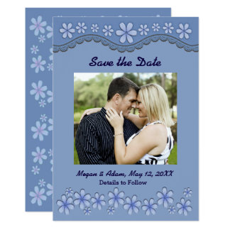 Dusty Blue Six Petal Flower Save the Date Card