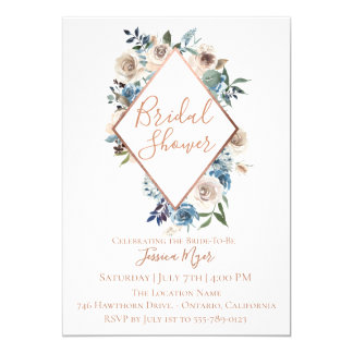 Dusty Blue Taupe Floral Bridal Shower Invitation
