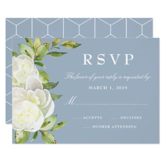 Dusty Blue Watercolor Floral Peony Wedding RSVP Card