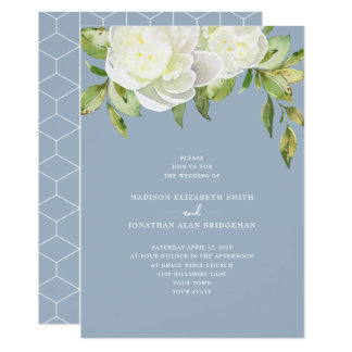 Dusty Blue Watercolor Spring Floral Peony Wedding Card