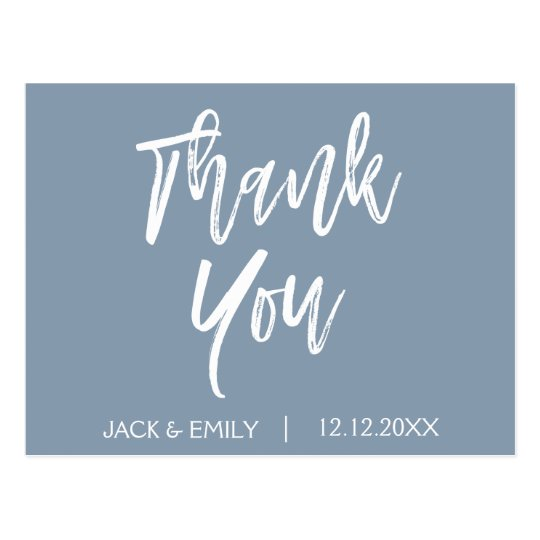 Dusty Blue Wedding Thank You Thanks Postcard