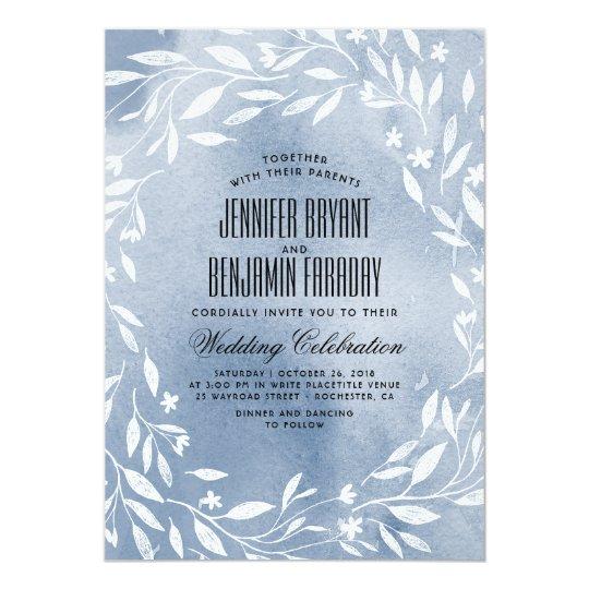 Dusty Blue White Flowers Garden Wedding Card