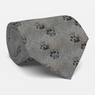 Dusty Grungy Cat Paw Pad Prints Tie