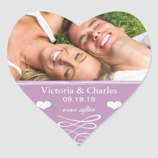 Dusty Lavender Purple Beach Destination Wedding Heart Sticker