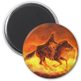 Dusty Morning Roundup 6 Cm Round Magnet