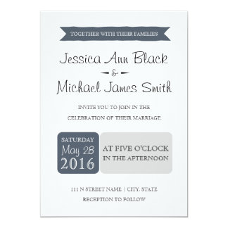 Dusty Navy & Gray | Wedding Invite