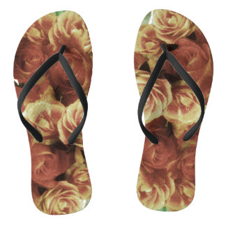 Dusty peach roses flip flops