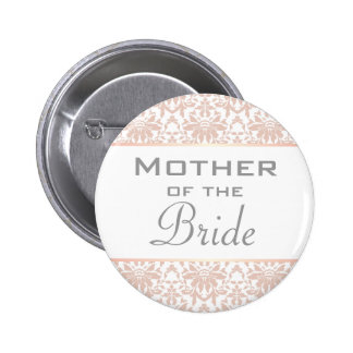 Dusty Pink Chandelier Damask Mother of the Bride 6 Cm Round Badge