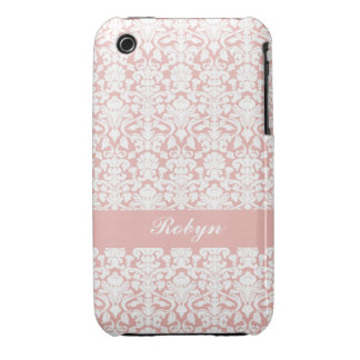 Dusty pink damask pattern custom name personal iPhone 3 Case-Mate case