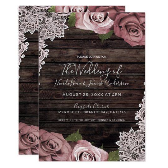 Dusty Pink Floral Roses Rustic Wood & Lace