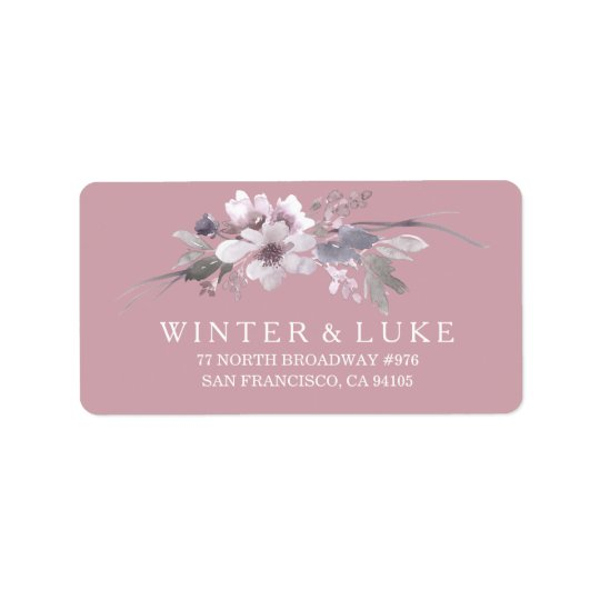 Dusty Pink Floral Watercolor Wedding Address Label