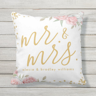 Dusty Pink Gold Floral Garden Mr. and Mrs. Wedding Outdoor Cushion