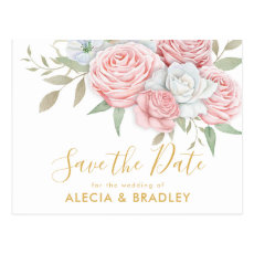 Dusty Pink Gold Floral Garden Save the Date