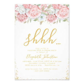 Dusty Pink Gold Floral Surprise Birthday Party Card