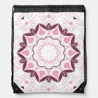 Dusty Pink Mandala Print Customisable Initial Drawstring Bag