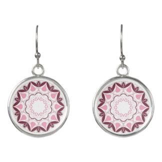 Dusty Pink Mandala Print Customisable Initial Earrings