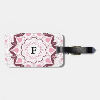 Dusty Pink Mandala Print Customisable Initial Luggage Tag