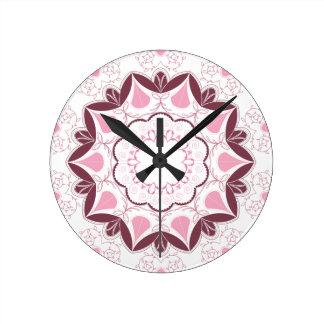 Dusty Pink Mandala Print Customisable Initial Round Clock