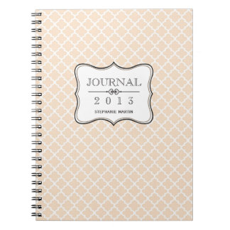 Dusty pink Moroccan tile personalized journal Spiral Note Book