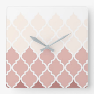 Dusty Pink Quatrefoil Square Wall Clock