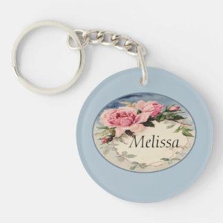 Dusty Pink Vintage Rose Leaf Wreath Monogram Double-Sided Round Acrylic Key Ring