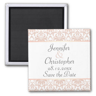 Dusty Pink & White Chandelier Damask Save the Date Magnet