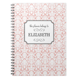 Dusty pink white damask wedding planner journal