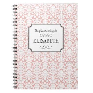 Dusty pink white damask wedding planner journal notebooks