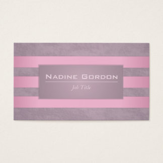 Dusty plum and faded pink and purple stripes business card