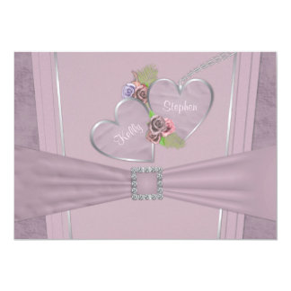 Dusty plum, pale purple and floral invitation