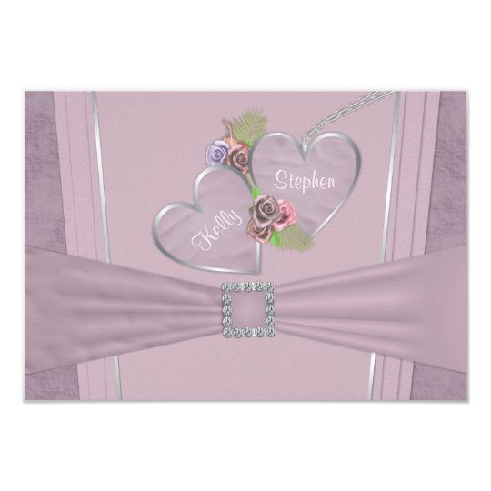 Dusty plum, pale purple and floral wedding RSVP