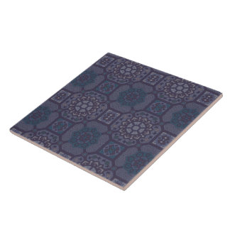 Dusty Purple Country Floral Pattern Tiles
