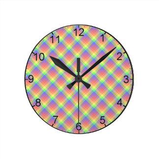 Dusty Rainbow Plaid Acrylic Wall Clock