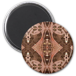 Dusty Rose And Brown Artistic Pattern. 6 Cm Round Magnet
