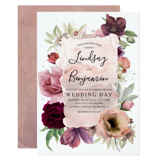 Blush Dusty Pink /& Lilac Vintage Watercolour Floral Personalized Wedding Than.