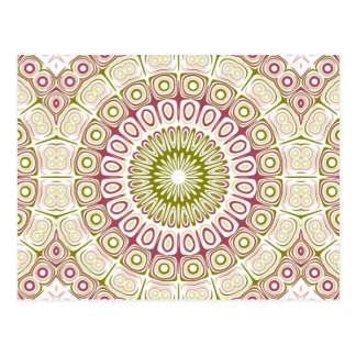 Dusty Rose and Olive Green Kaleidoscope Flowers Post Card