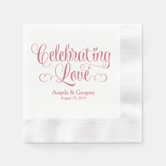 Dusty Rose Celebrating Love Personalized Wedding Disposable Napkins