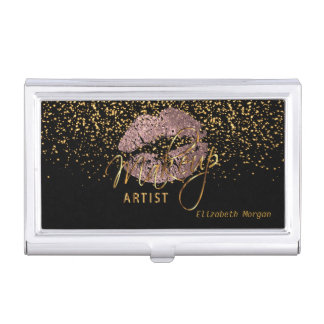 Dusty Rose Glitter Lips and Gold Confetti Business Card Holder