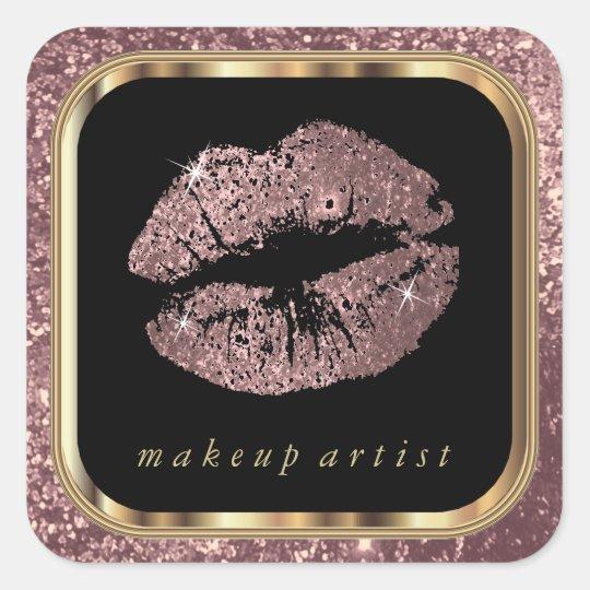 Dusty Rose Glitter Lips and Stylish Gold Font