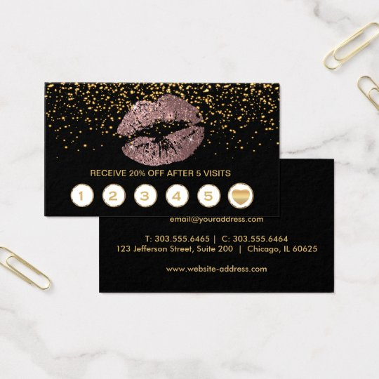 Dusty Rose Glitter Lips Loyalty Cards on Black