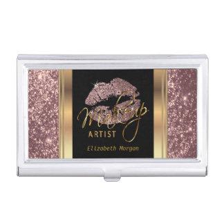 Dusty Rose Glitter Lips on Gold & Black Business Card Holder