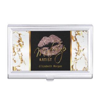 Dusty Rose Glitter Lips on Gold & White Marble Business Card Holder